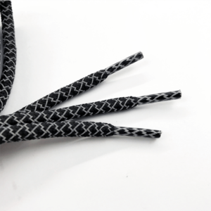 Black rope shoelaces tip